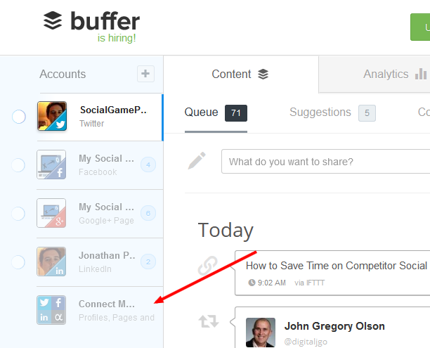 Adding Accounts to Buffer