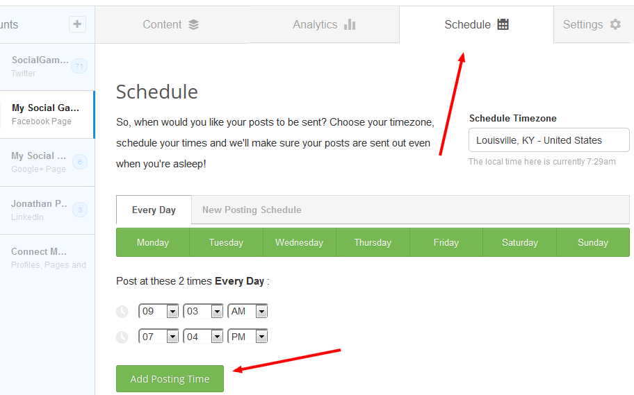 Setting Up First Buffer Schedule