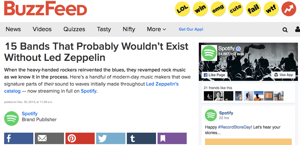 Buzzfeed Native Advertising Example